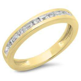 0.55 Carat (ctw) 18K Yellow Gold Alternating Round & Baguette Cut Diamond Ladies Channel Set Anniversary Wedding Band Stackable Ring 1/2 CT