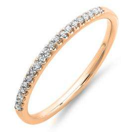 0.15 Carat (ctw) 18K Rose Gold Round Cut Diamond Ladies Dainty Anniversary Wedding Stackable Band
