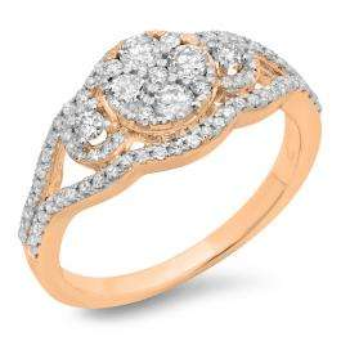 0.80 Carat (ctw) 14K Rose Gold Round Cut Diamond Ladies Bridal Split Shank Cluster Engagement Ring 3/4 CT