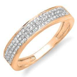 0.15 Carat (ctw) 10K Rose Gold Round Cut Diamond Ladies Anniversary Wedding Band