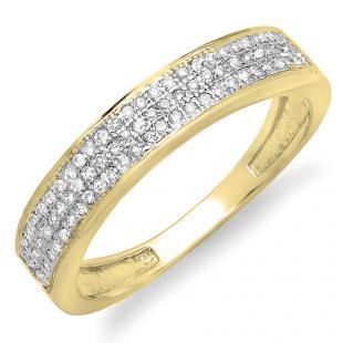 0.15 Carat (ctw) 18K Yellow Gold Round Cut Diamond Ladies Anniversary Wedding Band