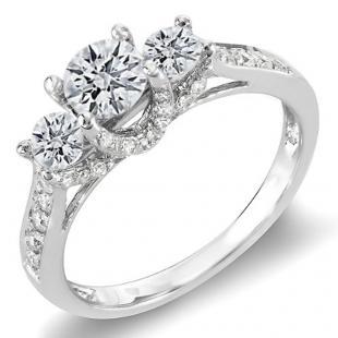 1.00 Carat (ctw) 14K White Gold Round White Diamond 3 Stone Ladies Bridal Engagement Ring 1 CT