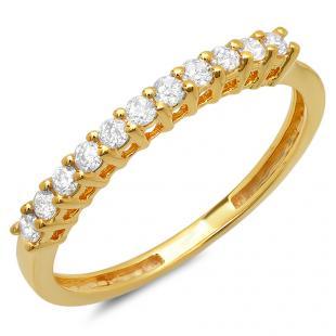 0.28 Carat (ctw) 18K Yellow Gold Round White Diamond Ladies Anniversary Stackable Wedding Band 1/4 CT