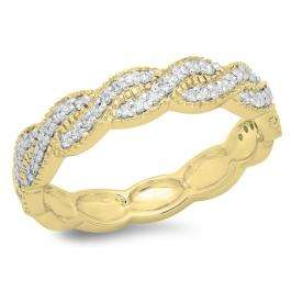 0.33 Carat (ctw) 18K Yellow Gold Round Cut Diamond Ladies Bridal Anniversary Wedding Swirl Band 1/3 CT