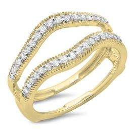 0.40 Carat (ctw) 10K Yellow Gold Round Cut Diamond Ladies Anniversary Wedding Enhancer Guard Double Ring