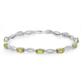4.82 Carat (ctw) Sterling Silver Real Oval Cut Genuine Peridot & Round White Diamond Ladies Link Bracelet