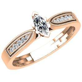 0.30 Carat (ctw) 10K Rose Gold Marquise & Round Cut Diamond Ladies Bridal Vintage Style Engagement Ring 1/3 CT