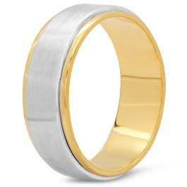 10K Two Tone Gold Men's Ladies Unisex Ring 7 MM Flat Fancy Shiny Polished Wedding Band