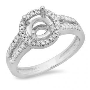 0.33 Carat (ctw) 10K White Gold Round Diamond Ladies Split Shank Bridal Semi Mount Engagement Ring 1/3 CT (No Center Stone)