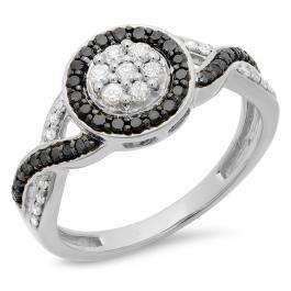 0.55 Carat (ctw) 18K White Gold Round White & Black Diamond Ladies Swirl Style Cluster Flower Engagement Ring