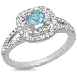 0.80 Carat (ctw) 18K White Gold Round Blue Topaz & White Diamond Ladies Split Shank Engagement Halo Bridal Ring 3/4 CT