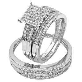 0.27 Carat (ctw) Sterling Silver Round White Diamond Men's & Women's Micro Pave Engagement Ring Trio Bridal Set 1/4 CT