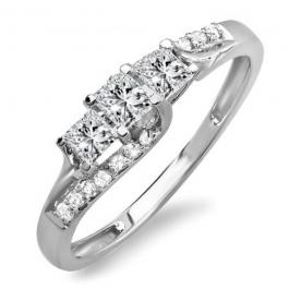 0.48 Carat (ctw) Platinum Princess & Round Diamond Ladies Bridal 3 Stone Swirl Wave Engagement Ring 1/2 CT