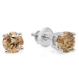 1.00 Carat (ctw) 14K White Gold Round Cut Champagne Diamond Ladies Stud Earrings 1 CT