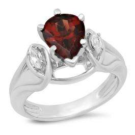 1.75 Carat (ctw) 10K White Gold Pear Cut Garnet & Marquise Cut White Topaz Ladies Bridal 3 Stone Engagement Ring 1 3/4 CT