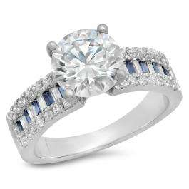 5.80 Carat (ctw) 18K White Gold Round & baguette Blue Sapphire & White Cubic Zirconia CZ Classic Solitaire with Accents Bridal Engagement Ring