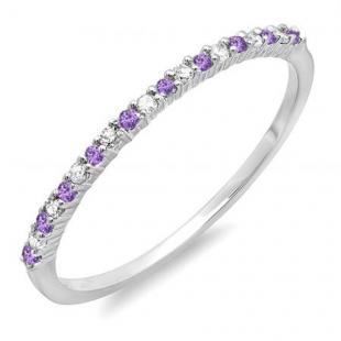 0.16 Carat (ctw) 10K White Gold Round Amethyst & White Diamond Ladies Anniversary Wedding Band Stackable Ring