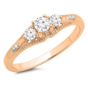 0.35 Carat (ctw) 18K Rose Gold Round Cut White Diamond Ladies Bridal 3 Stone Engagement Ring 1/3 CT