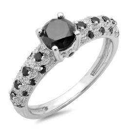 1.15 Carat (ctw) 18K White Gold Round Cut Black Diamond Ladies Bridal Vintage & Antique Engagement Ring