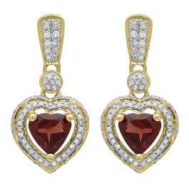 2.20 Carat (ctw) 14K Yellow Gold Heart Cut Red Garnet & Round Cut White Diamond Ladies Heart Dangling Earrings