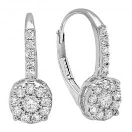 0.55 Carat (ctw) 14K White Gold Round Cut White Diamond Ladies Cluster Style Dangling Drop Earrings 1/2 CT