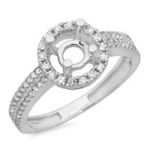 0.50 Carat (ctw) 10K White Gold Round Cut Diamond Ladies Bridal Semi-Mount Split Shank Engagement Ring 1/2 CT (No Center Stone)