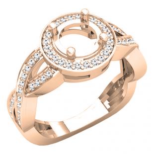 0.40 Carat (ctw) 14K Rose Gold Round White Diamond Ladies Swirl Split Shank Semi Mount Bridal Engagement Ring (No Center Stone)