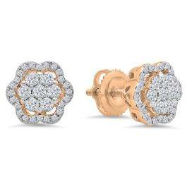 0.45 Carat (ctw) 14K Rose Gold Round White Diamond Ladies Fashion Cluster Style Stud Earrings 1/2 CT
