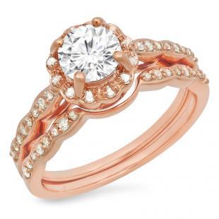 0.90 Carat (ctw) 14K Rose Gold Round White Moissanite & Real Diamond Ladies Bridal Halo Style Engagement Ring With Matching Band Set