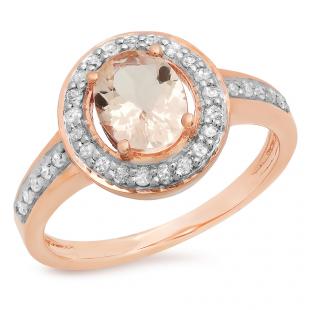 1.20 Carat (ctw) 14K Rose Gold Oval Cut Morganite & Round White Diamond Ladies Halo Bridal Engagement Ring 1 1/4 CT