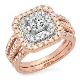 1.55 Carat (ctw) 14K White & Rose Gold Two Tone Princess & Round Diamond Ladies Square Split Shank Halo Bridal Engagement Ring Set 1 1/2 CT