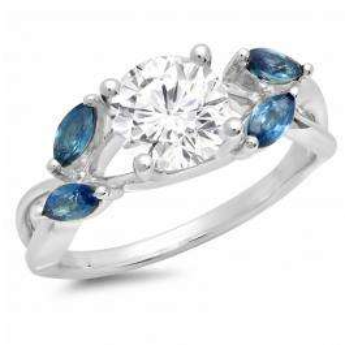 1.40 Carat (Ctw) Sterling Silver Round Cut White Sapphire & Marquise Blue Sapphire Ladies Swirl Split Shank Bridal Engagement Ring