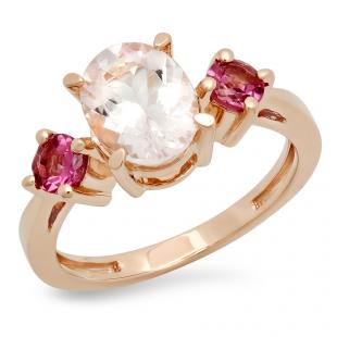 2.1 Carat (Ctw) 10K Rose Gold Oval Cut Morganite & Round Cut Tourmaline Ladies Bridal 3 Stone Engagement Ring