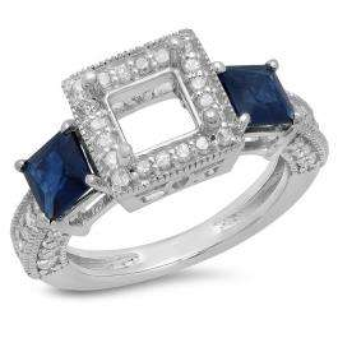 1.60 Carat (ctw) 14K White Gold Princess Cut Blue Sapphire & Round Cut White Diamond Ladies Semi Mount Engagement Bridal Ring (No Center Stone)