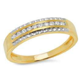 0.30 Carat (ctw) 14K Yellow Gold Round White Diamond Men's Wedding Anniversary Band 1/3 CT
