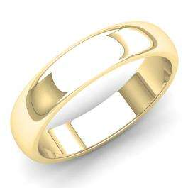 14K Yellow Gold Men's Ring 5 MM Fancy Shiny Polished Comfort Fit Low Dome Wedding Band