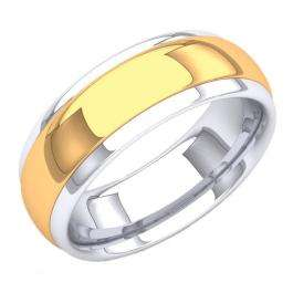 14K White & Yellow Gold Two Tone Men's Ring 8 MM Flat Fancy Shiny Polished Comfort Fit Low Dome Wedding Band