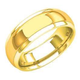 18K Yellow Gold Men's Ring 8 MM Flat Fancy Shiny Polished Comfort Fit Low Dome Wedding Band