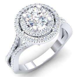 1.50 Carat (ctw) 14K White Gold Round Cut White Cubic ZIrconia Ladies Bridal Split Shank Halo Style Engagement Ring