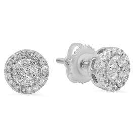 0.30 Carat (ctw) 10K White Gold Round White Diamond Ladies Circle Cluster Stud Earrings 1/3 CT