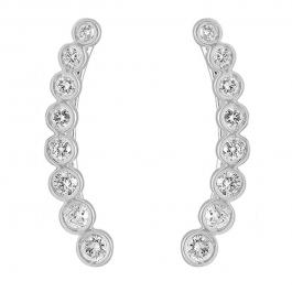 0.60 Carat (ctw) 10K White Gold Round Cut White Diamond Ladies Journey Curved Climber Earrings