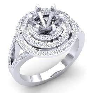 0.35 Carat (Ctw) 14K White Gold Round White Diamond Ladies Semi Mount Bridal Engagement Ring 1/3 CT (No Center Stone)