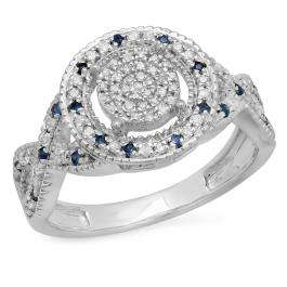0.34 Carat (ctw) Sterling Silver Round Blue Sapphire & White Diamond Ladies Micro Pave Engagement Ring 1/3 CT