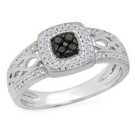 0.25 Carat (ctw) Sterling Silver Round Cut Black & White Diamond Ladies Bridal Swirl Cluster milgrain Engagement Ring 1/4 CT