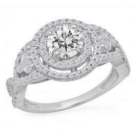 1.30 Carat (ctw) 14K White Gold Round Cut Moissanite & White Diamond Ladies Swirl Bridal Halo Engagement Ring