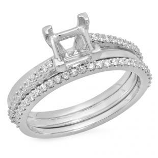 0.30 Carat (ctw) Platinum Round Cut White Diamond Ladies Bridal Semi Mount Engagement Ring Matching Band Set (No Center Stone) 3/4 CT