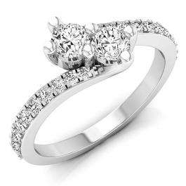 0.75 Carat (ctw) 10K White Gold Round White Diamond Ladies Two Stone Bypass Style Bridal Engagement Ring 3/4 CT