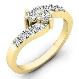 0.50 Carat (ctw) 18K Yellow Gold Round White Diamond Ladies Two Stone Bypass Style Bridal Engagement Ring 1/2 CT