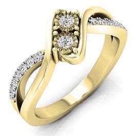 0.25 Carat (ctw) 10K Yellow Gold Round White Diamond Ladies Two Stone Split Shank Bypass Style Bridal Engagement Ring 1/4 CT
