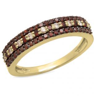 0.60 Carat (ctw) 18K Yellow Gold Round Champagne & White Diamond Ladies Anniversary Wedding Band Stackable Ring